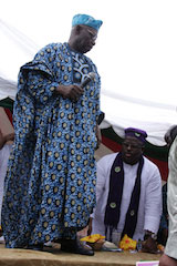 Olusegun Obasanjo with Buruji Kashamu: on the campaign trail for PDP