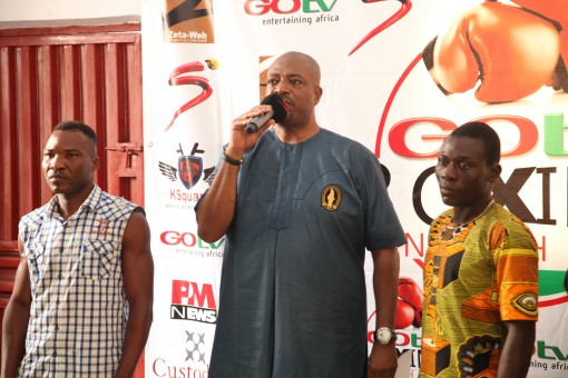 CEO Flykites Promotion, Jenkins Ajumona (middle)   introducing boxers to the media in an event before the first edition of   GOtv Boxing Night last December