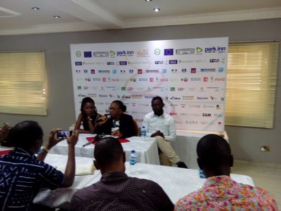 The Festival Director, Ms Lola Shoneyin has Byenyan Jessica Bitrus, Media and Communications Manager to her left, while Tosin Adeyemi, the Festival's Finance Manager is on her right.