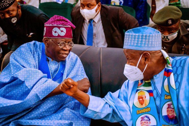 Tinubu and Ganduje at the Colloquium held in Kano on Monday