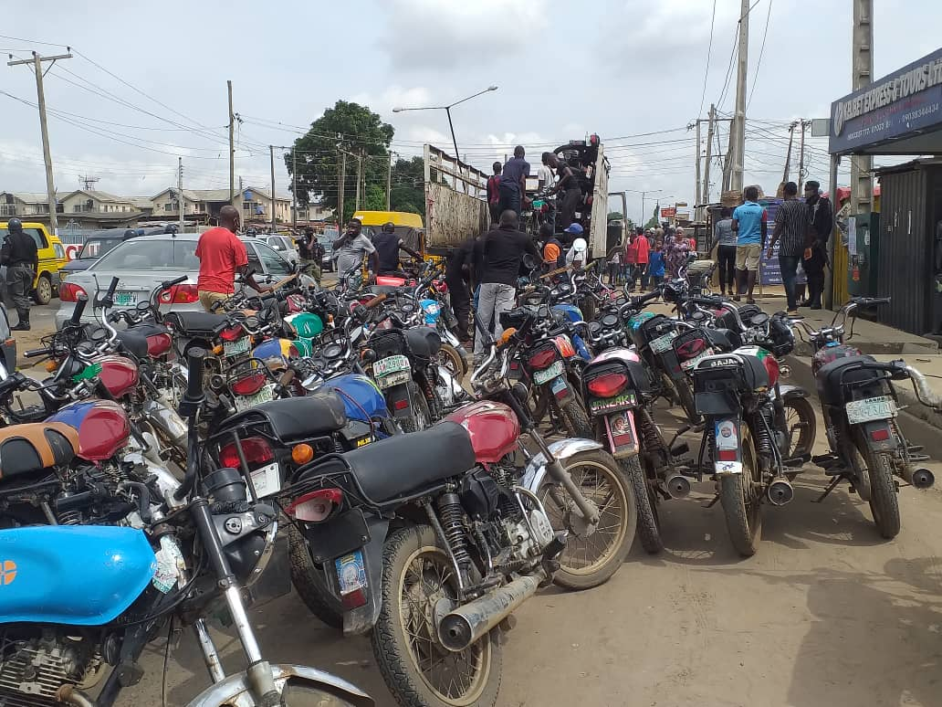 Some of the motorcycles impounded by Lagos State Environmental and Special Offences Unit (Taskforce)