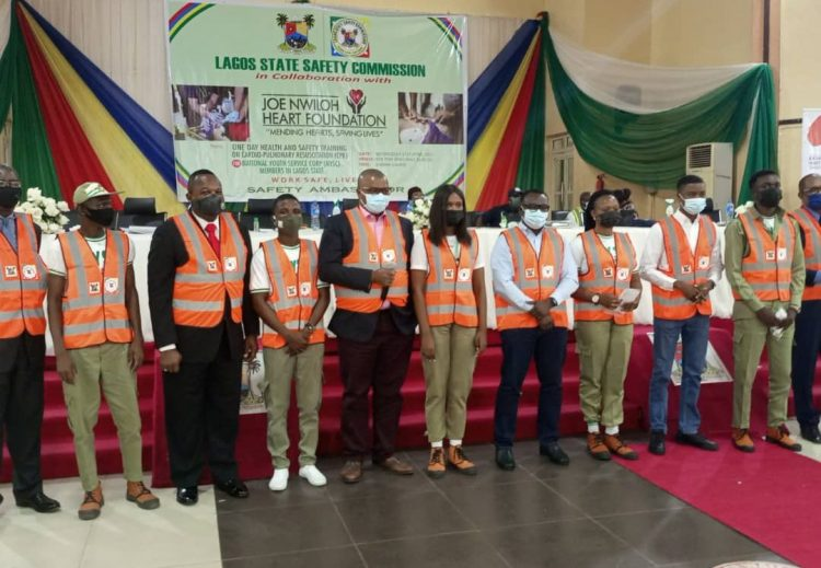 The youth corps members decorated as safety ambassadors