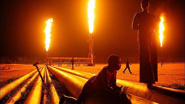 Nigeria among top Gas flaring countries. Above Niger Delta at night