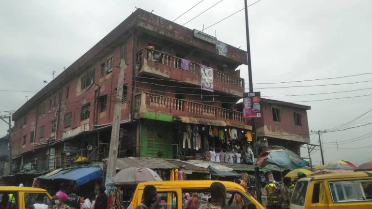 The distressed three-storey building at No. 2 Brown Street, off Bolade Bus-Stop in Oshodi area of Lagos.