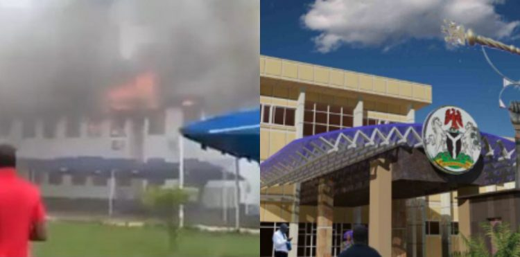 The house on fire (left) not the same as Imo State Assembly (Right)