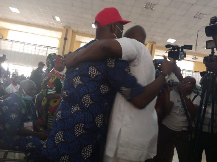 Fayose, Makinde hug each other at PDP's congress