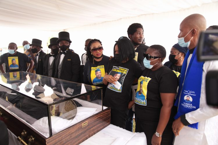 Dr Joe Okei-Odumakin and others paid respect to Yinka Odumakin at the lying in state
