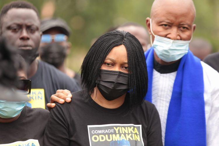 Dr. Joe Okei-Odumakin, widow of the deceased downcast at the lying in state
