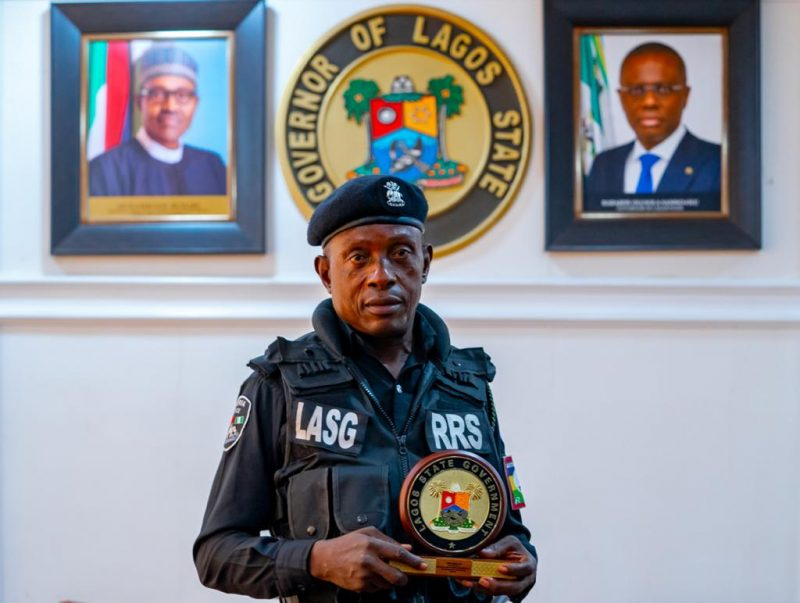 The Police Officer assaulted by a traffic offender, ASP Sunday Erhabor, after the ceremony in his honour at Lagos House, Ikeja, on Monday, April 19, 2021