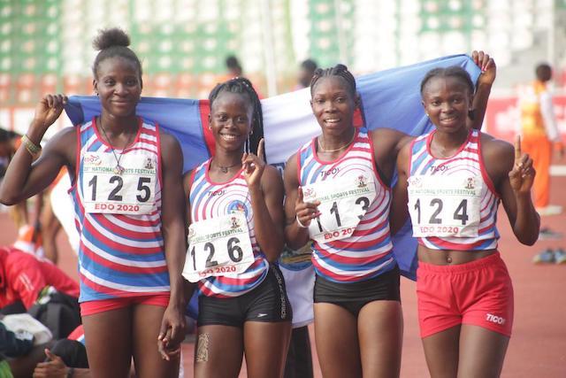 Team Delta also dominant in the women's 4x100m L-R: EseBrume, Praise Ofoku, Praise Idamadudu and Grace Nwokocha