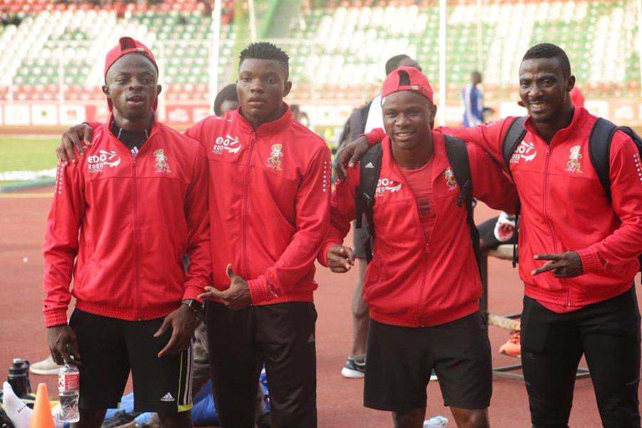 Team Edo win the 4x100m race: L-R: Adegoke Enoch, Alaba Akintola, Arowolo Emanuel & Chidera Ezeakor.