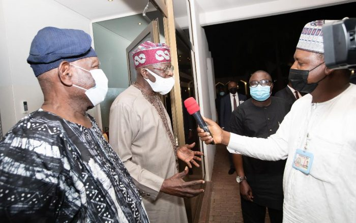 Tinubu speaks with the media at the end of the meeting