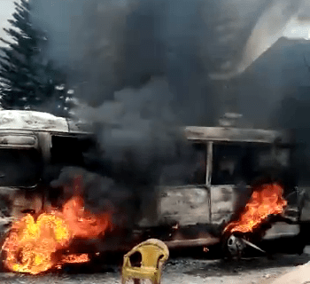 A bus in Uzodinma's house on fire