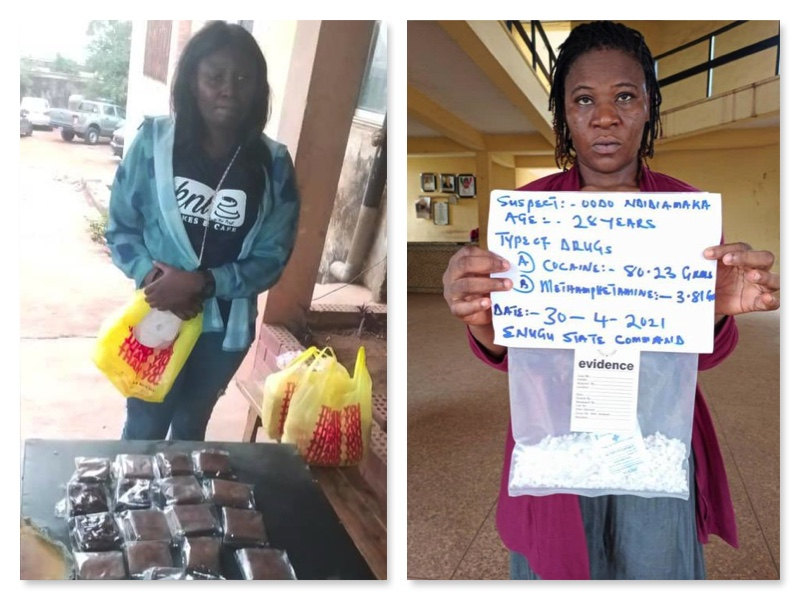 2 women arrested by NDLEA for drugs, right is Ndidamaka arrested in Nsukka