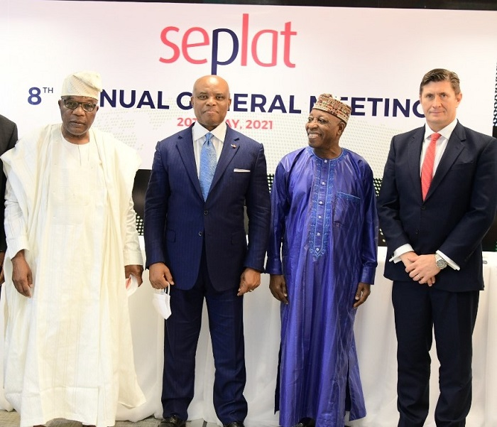 L-R: Shareholder/ Member Statutory Audit Committee, Sir Sunny Nwosu; Chairman, Seplat, Dr. ABC Orjiako; Shareholder/ Member Statutory Audit Committee, Dr. Faruk Umar; and Chief Executive Officer, Seplat, Roger Brown, at Seplat's hybrid 8th Annual General Meeting held at the company's headquarters in Lagos … on Thursday.
