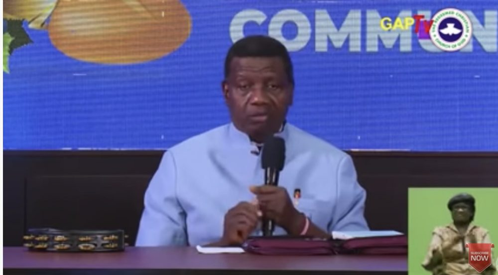 Adeboye at the Holy Communion Service on Thursday