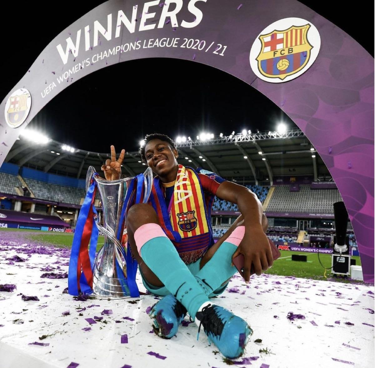 Asisat Oshoala makes history winning UEFA Women's Champions League with Barcelona Femeni