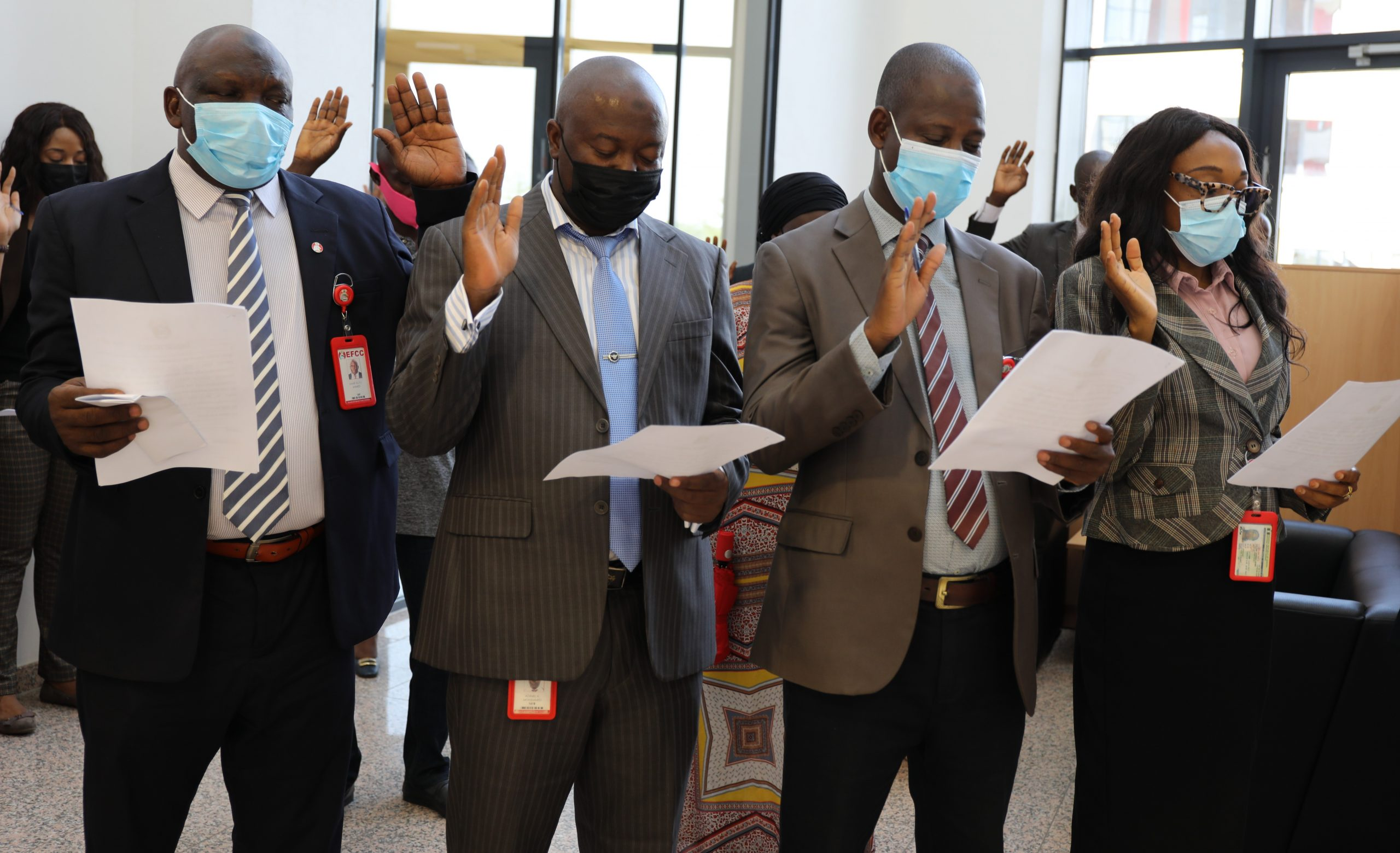 Officials of the Economic and Financial Crimes Commission, EFCC taking fresh official oaths