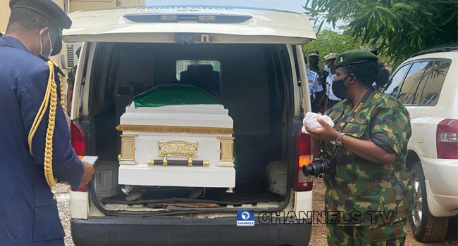 The casket for one of the dead officers