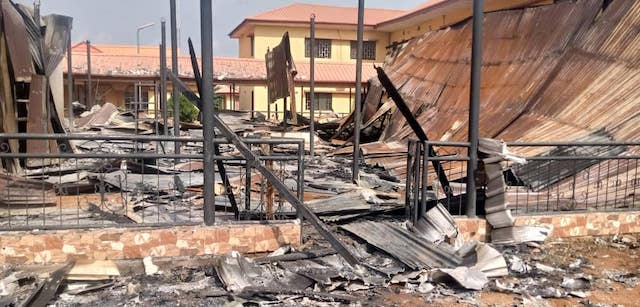 Burnt down: INEC collation centre in Awka
