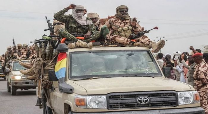 Chad's military in a triumphant parade in N'djamena