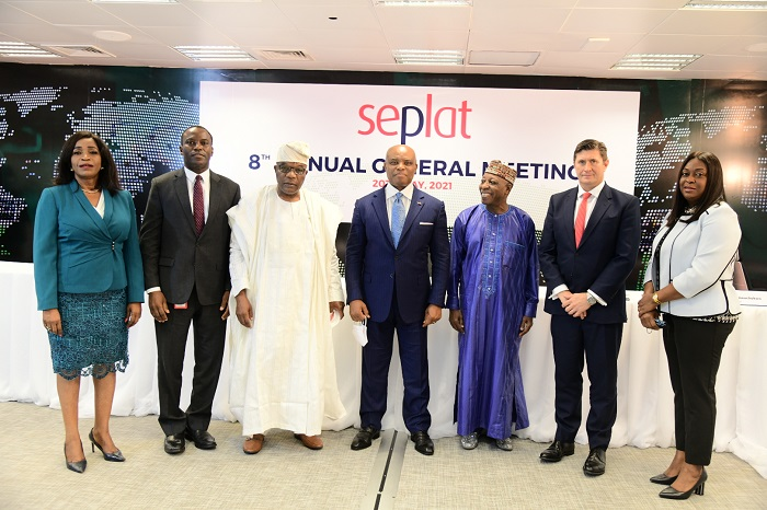 L-R: Director, External Affairs and Sustainability, Dr. Chioma Nwachuku; Operations Director, Seplat, Effiong Okon; Shareholder/ Member Statutory Audit Committee, Sir Sunny Nwosu; Chairman, Seplat, Dr. ABC Orjiako; Shareholder/ Member Statutory Audit Committee, Dr. Faruk Umar; Chief Executive Officer, Seplat, Roger Brown; and Company Secretary/General Counsel, Edith Onwuchekwa, at Seplat's hybrid 8th Annual General Meeting held at the company's headquarters in Lagos … on Thursday.