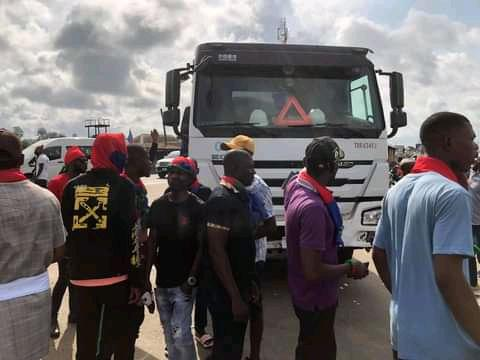 Ijaw Youth Council members protest on East-West Road