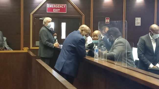 Jacob Zuma, backing camera in court on Monday