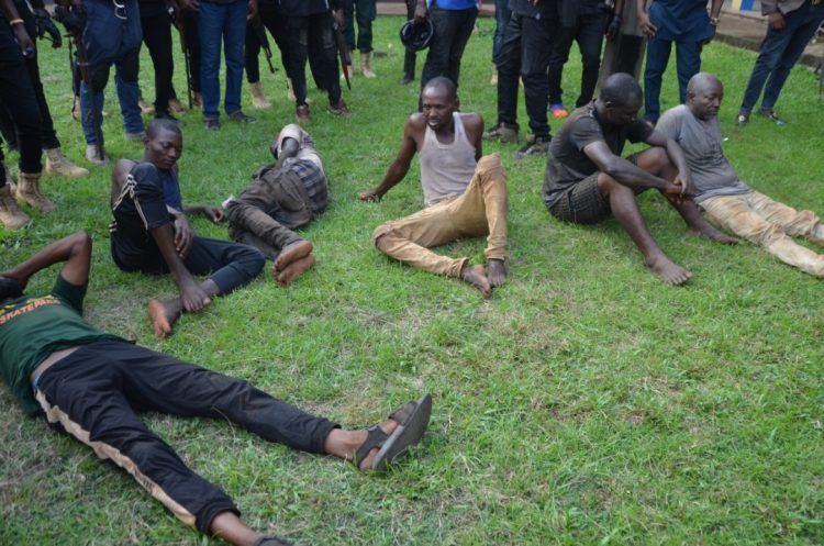 Some of the suspected kidnappers arrested in Edo