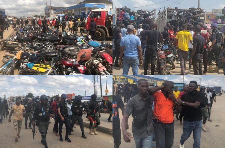 Taskforce, okada clash in Ejigbo: 92 bikes seized