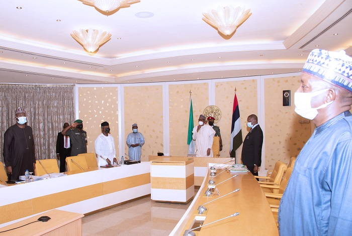 President Muhammadu Buhari, Vice President Yemi Osinbajo SAN, SGF Mr. Boss Mustapha, Attorney General of the Federation and Minister of Justice,  Abubakar Malami SAN and Minister of Power Engr Saleh Mamman during a virtual FEC Meeting held at the State House Abuja. PHOTO; SUNDAY AGHAEZE. MAY 5TH 2021