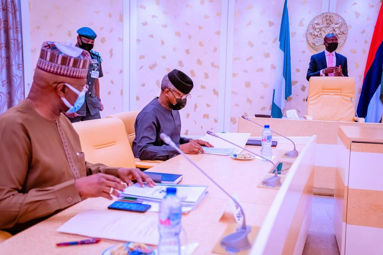 Osinbajo with Boss Mustapha at the event