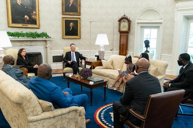 President Joe Biden with members of George Floyd Family at the Oval Office on Tuesday