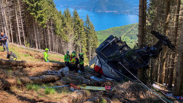 Rescue workers at the site of the cable car crash in Italy. Photo Italian police