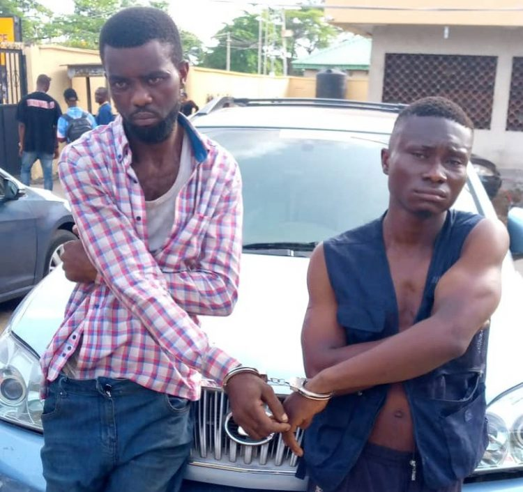 Suspected Lagos robbers Kelechukwu, Godspower busted with stolen SUV