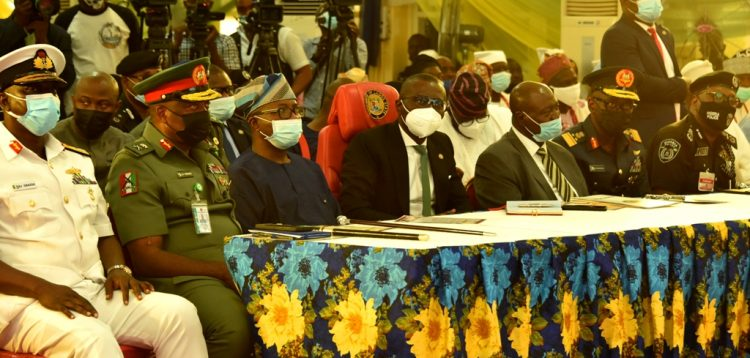 Sanwo-Olu and others at the stakeholder's meeting on security