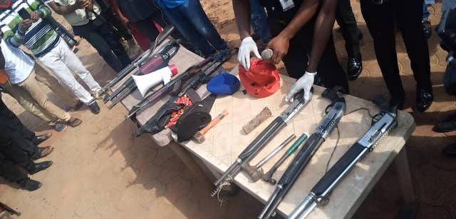 Some of the guns abandoned by the hoodlums in Awka