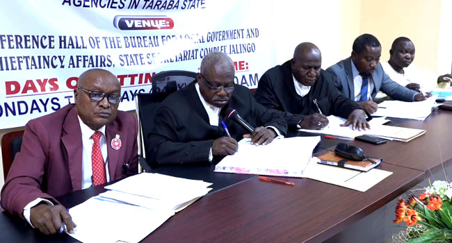 Justice Christopher Awubra and other members of the Judicial Panel of Inquiry at a sitting in Taraba State on January 6, 2021.