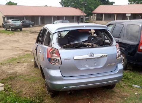 The Toyota Matrix involved in the killing of Ogbomoso girl