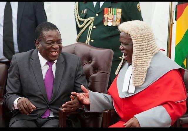 Zimbabwe's President Mnangagwa and Chief Justice Luke Malaba