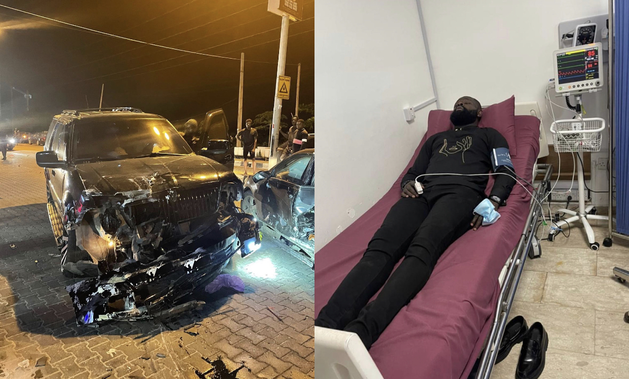 Yomi Casual's damaged SUV and him on hospital bed