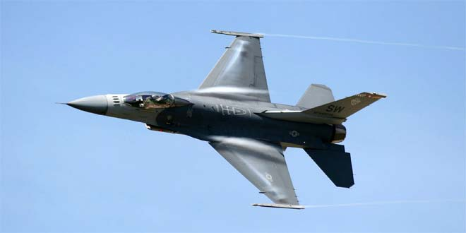 An F16 similar to the one U.S. used to shell Iran backed militia