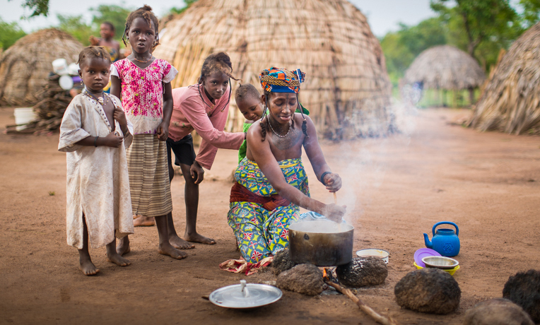A family in a Fulani camp