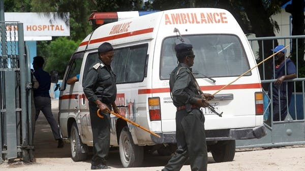 An ambulance carrying the injured after the Al Shabaab attack