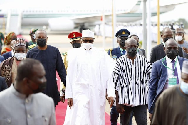 Buhari on his arrival in Accra on Saturday. Twitter photo
