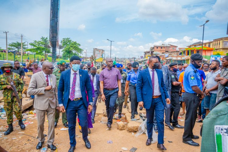 Seyi Makinde inspects scene of Wednesday's  clash in Iwo road