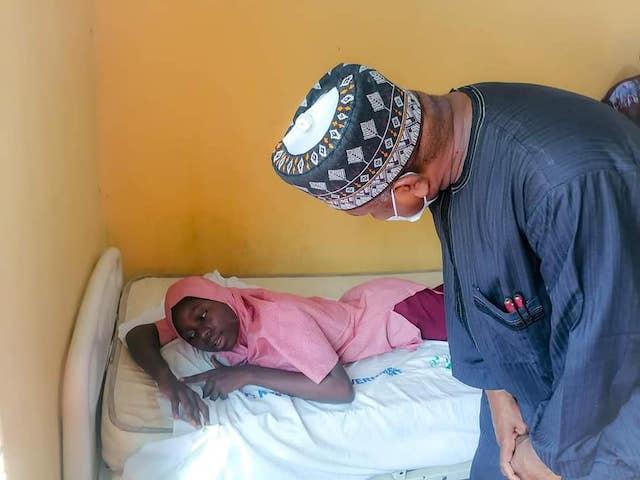 Governor Bagudu visits an injured student in hospital