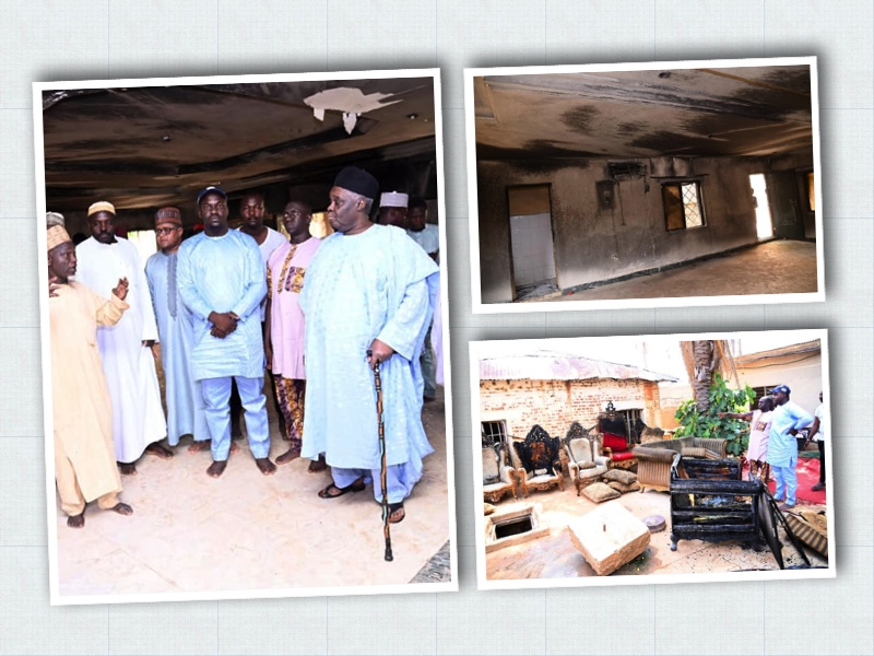 Photo left, shows Emir of Fika, right, with sympathisers after the fire incident in his palace