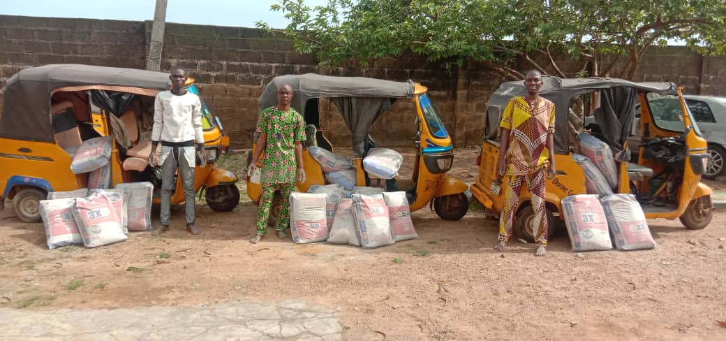 Three tricycle riders arrested for stealing 300 bags of cement