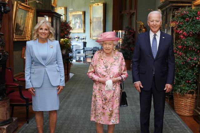 The Bidens with Queen Elizabeth at Windsor Castle